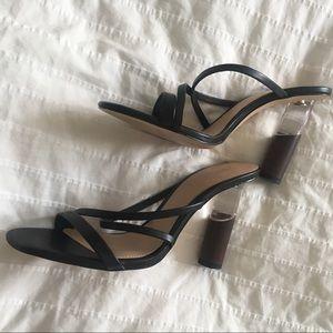 ZARA black wood lucite heel mule strappy